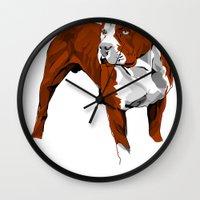 pitbull Wall Clocks featuring Pitbull by Styleuniversal