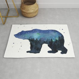 Forest Bear Silhouette Watercolor Galaxy Rug