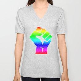 black fist rainbow Unisex V-Neck