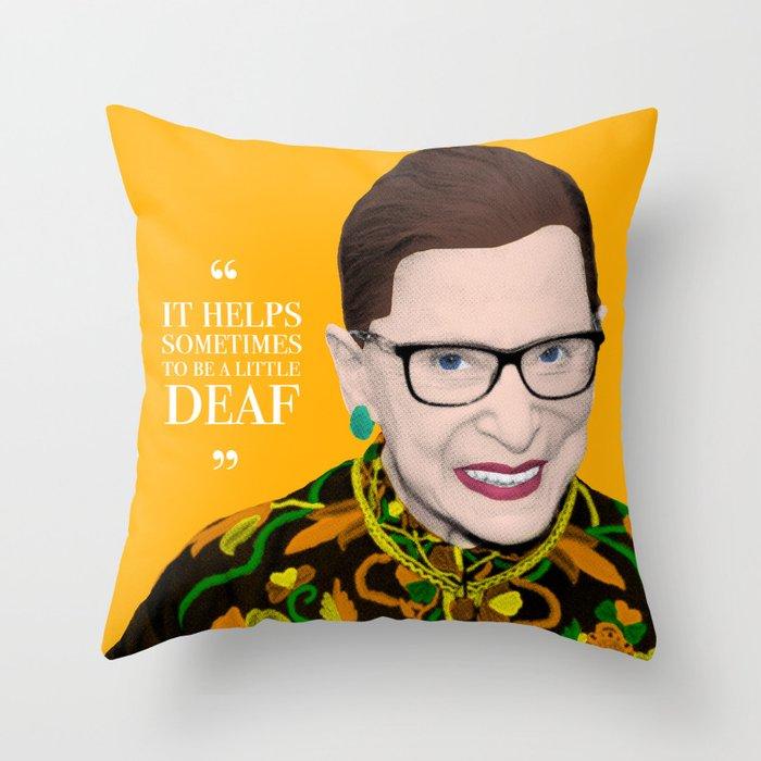 Deaf RBG Throw Pillow