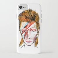 bowie iPhone & iPod Cases featuring Bowie by James Peart