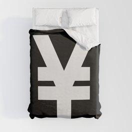 Yen Sign (White & Black) Duvet Cover
