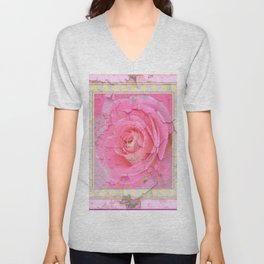 SHABBY CHIC PALE PINK  GARDEN ROSE PATTERN PINK ABSTRACT Unisex V-Neck
