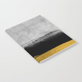 Black and Gold grunge stripes on modern grey concrete abstract backround I - Stripe - Striped Notebook