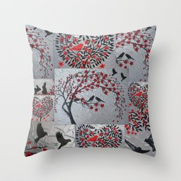 red and black grey gray silver art japan japanese nest 2 birds cherry blossom trees blossoms wind Throw Pillow