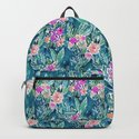 NAVY PARADISE FLORAL Tropical Hibiscus Palm Pattern by barbraignatiev