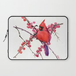 Red Cardinal and Berries, Christmas Red design Christmas Decor Gift Laptop Sleeve