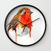 robin Wall Clocks featuring Robin by Paint the Moment