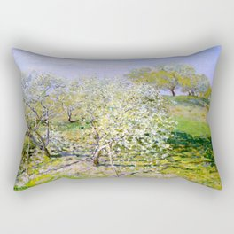 "Claude Monet ""Spring (Apple Trees in Bloom)"" Rectangular Pillow"