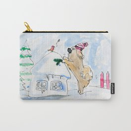 Winter Wonderland Tibbie in a Knitted Hat Enjoying the Snowy Day Carry-All Pouch
