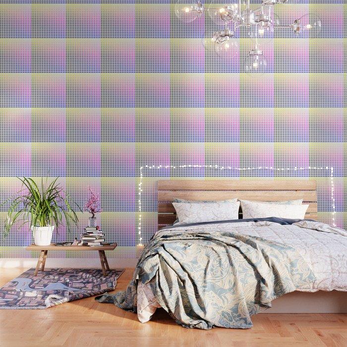 Rainbow ombre raindrops grid Wallpaper