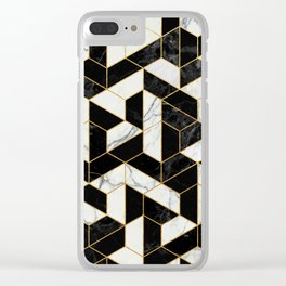 Black and White Marble Hexagonal Pattern Clear iPhone Case