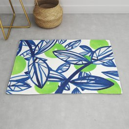 Blue and lime green abstract apple tree Rug