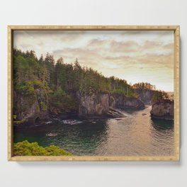 Sunset at Cape Flattery, Washington, Olympic Peninsula, Monolith, Pacific Ocean, Islands Serving Tray