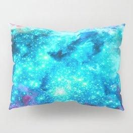 Turquoise Fuchsia Sparkle Stars Pillow Sham