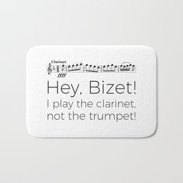 Hey Bizet! I play the clarinet, not the trumpet! Bath Mat