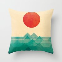 red hood Throw Pillows featuring The ocean, the sea, the wave by Picomodi