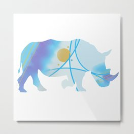 Abstract Rhino Metal Print