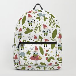 Seamless vector pattern with cute gardening gnomes. Backpack