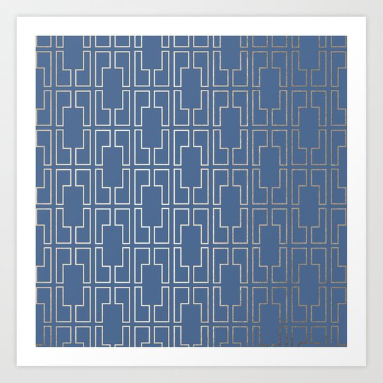 Simply Mid-Century in White Gold Sands and Aegean Blue Art Print