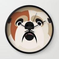 bulldog Wall Clocks featuring Bulldog by SaveTheDogs.es