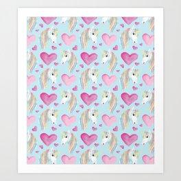 Pink hearts and Unicorns Art Print