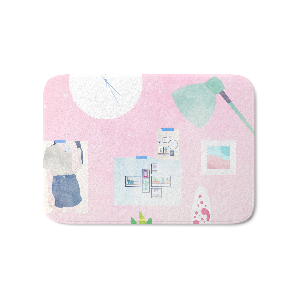 Pink Deskspace Bath Mat by riedesignph