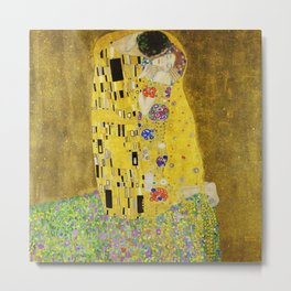 The Kiss, Gustav Klimt Metal Print