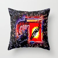 bazinga Throw Pillows featuring BAZINGA!   -   012 by Lazy Bones Studios