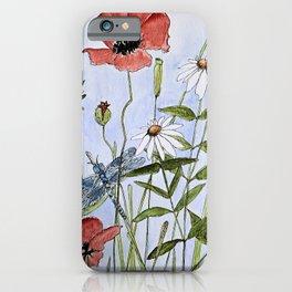 Wildflower Botanical Garden Flower Blue Skies Watercolor iPhone Case