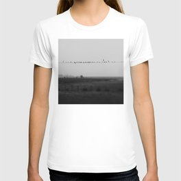 birds on wires in the still of the morning fog ... T-shirt