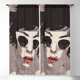Cleverly - Feminine portrait ink drawing Blackout Curtain