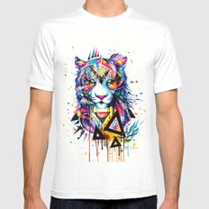 -Tiger - MEDIUM White Mens Fitted Tee