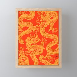 Red and Gold Battling Dragons Framed Mini Art Print