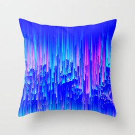 Neon Rain - A Digital Abstract Throw Pillow