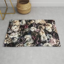 Flower Wall // Desaturated Vintage Floral Accent Background Jaw Dropping Decoration Rug