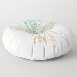 Desert Cactus Dreamcatcher Turquoise Coral Gradient Floor Pillow