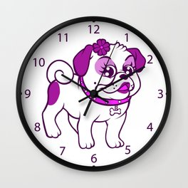 cartoon purple pug  Wall Clock