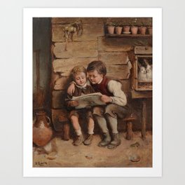Joseph Clark (1834-1926) Village Chums Art Print