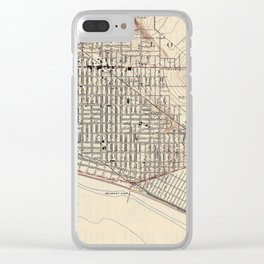 Vintage Map of Long Beach California (1923) Clear iPhone Case