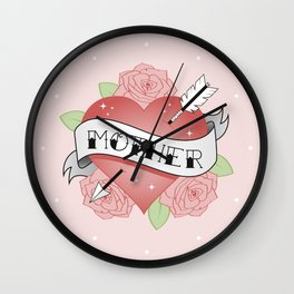 Mother Tattoo - Pink Wall Clock