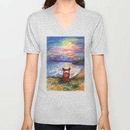 Corgi - sunset adorer Unisex V-Neck