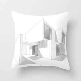 Cubic House No.1 - minimalist architecture - sketch art Throw Pillow