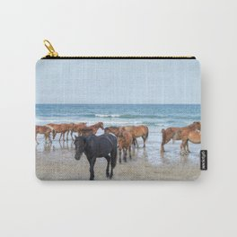 Outer Banks, Corolla, NC, Stallion and his Harem Matted Print Carry-All Pouch