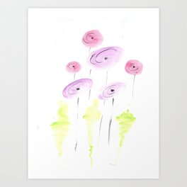 pink and coral poppy flowers Art Print