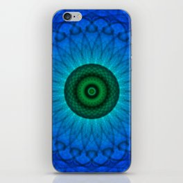 Blue mandala with green middle iPhone Skin