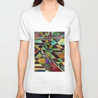 the fault V-neck T-shirts featuring Fault Lines by Klara Acel
