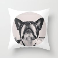 french bulldog Throw Pillows featuring French Bulldog by lori