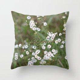 White Fairy Wildflowers Throw Pillow