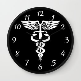 Caduceus medical symbol with two snakes sword and wings Wall Clock